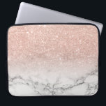 "Modern faux rose pink glitter ombre white marble computer sleeve<br><div class=""desc"">A cool,  trendy and stylish faux rose gold pink glitter ombre on modern white marble background. You can personalize it by adding your name or monogram</div>"