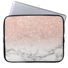 Modern Faux Rose Pink Glitter Ombre White Marble Computer Sleeve at Zazzle