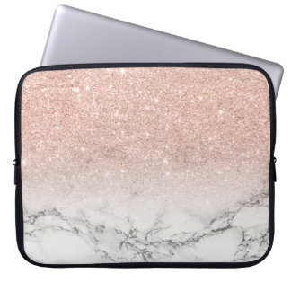 Modern faux rose pink glitter ombre white marble computer sleeve