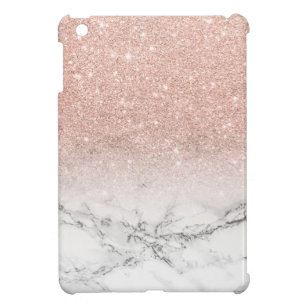 Modern faux rose pink glitter ombre white marble iPad mini case Cases | Zazzle