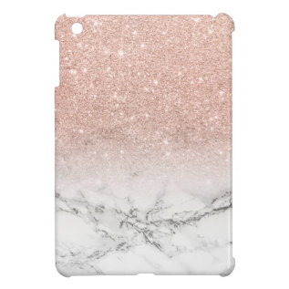Modern Faux Rose Pink Glitter Ombre White Marble Ipad Mini Case at Zazzle