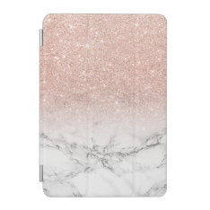 Modern Faux Rose Pink Glitter Ombre White Marble Ipad Mini Cover at Zazzle