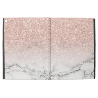 "Modern faux rose pink glitter ombre white marble iPad pro 12.9"" case"
