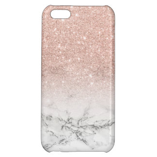Modern faux rose pink glitter ombre white marble iPhone 5C case
