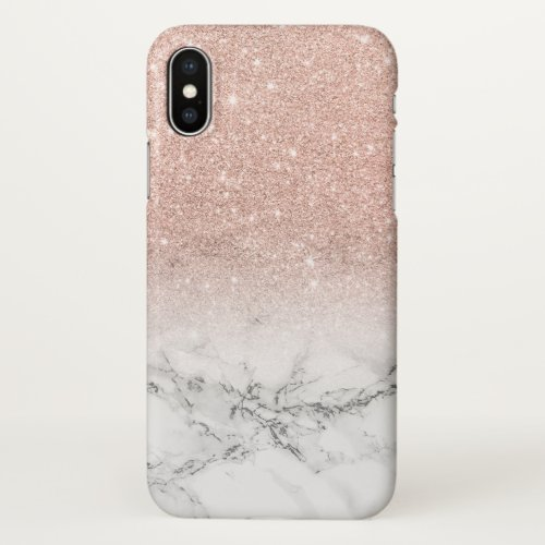 Modern faux rose pink glitter ombre white marble Phone Case