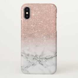 Modern faux rose pink glitter ombre white marble iPhone x case