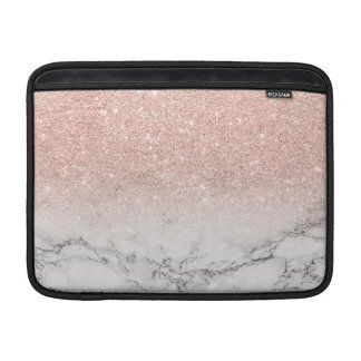 Modern faux rose pink glitter ombre white marble MacBook sleeves