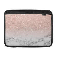 Modern Faux Rose Pink Glitter Ombre White Marble Sleeve For Macbook Air at Zazzle