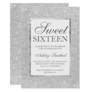 Modern faux silver glitter elegant chic Sweet 16 Card