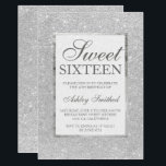 "Modern faux silver glitter elegant chic Sweet 16 Invitation<br><div class=""desc"">A modern,  pretty chic and elegant faux silver gray glitter Sweet 16 birthday party invitation with silver frame</div>"