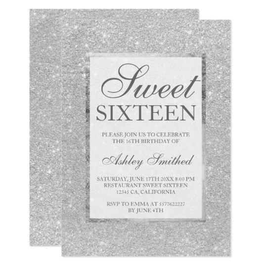Modern Faux Silver Glitter Elegant Chic Sweet 16 Invitation Zazzle Com