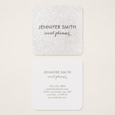 Modern Faux Silver Glitter Elegant Professional Square Business Card