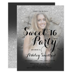 Modern faux silver glitter ombre photo Sweet 16 Card
