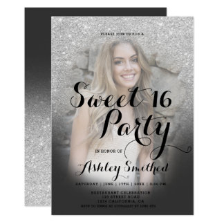 Modern faux silver glitter ombre photo Sweet 16 Card