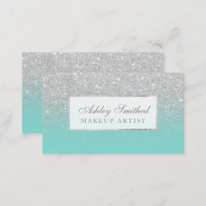 Modern faux silver glitter teal ombre makeup business card