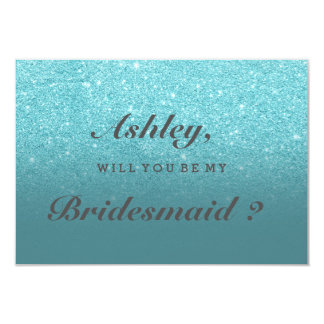 Modern faux teal glitter ombre be my bridesmaid invitation