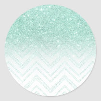 Modern  faux teal glitter ombre chevron pattern classic round sticker