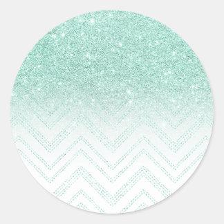 Modern  faux teal glitter ombre chevron pattern classic round sticker
