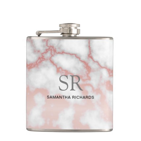 Modern faux white marble rose gold pattern name flask