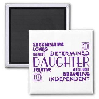 Modern Feminine Chic & Stylish Daughters 2 Inch Square Magnet
