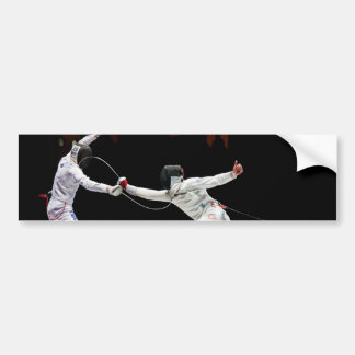 Modern Fencing Sword Fighting Dual Bumper Sticker