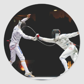 Modern Fencing Sword Fighting Dual Classic Round Sticker