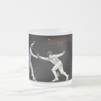 Modern Fencing Sword Fighting Dual Frosted Glass Coffee Mug