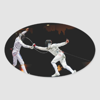Modern Fencing Sword Fighting Dual Oval Sticker