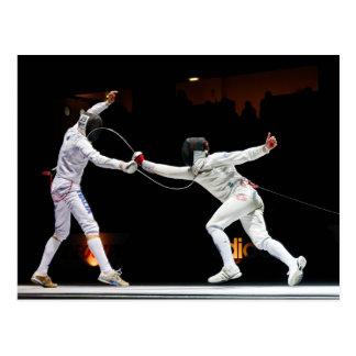 Modern Fencing Sword Fighting Dual Postcard