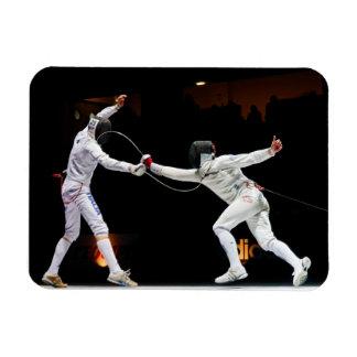 Modern Fencing Sword Fighting Dual Rectangular Photo Magnet