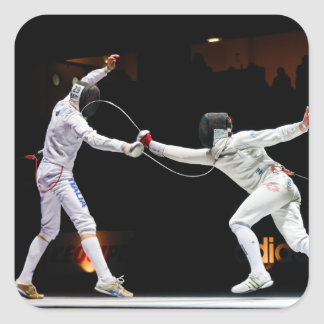 Modern Fencing Sword Fighting Dual Square Sticker