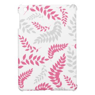 Modern Ferns Foliage Grey and Pink iPad Mini Cover
