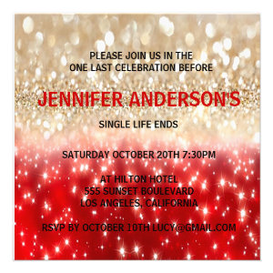 Modern Festive Red&Gold Sparkles Bachelorette Custom Announcement