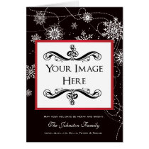 Modern Filigree Falling Snowflakes Holiday Photo Card