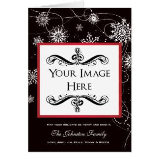 Modern Filigree Falling Snowflakes Holiday Photo Card