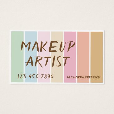 Professional Business modern fine color pastel palette makeup artist business card