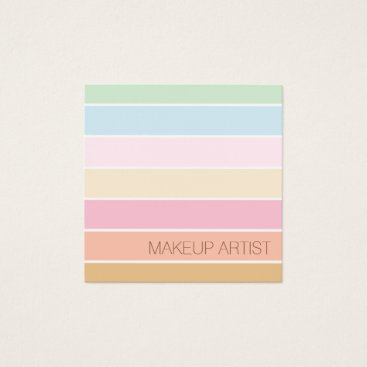 Professional Business modern fine color pastel palette makeup artist square business card