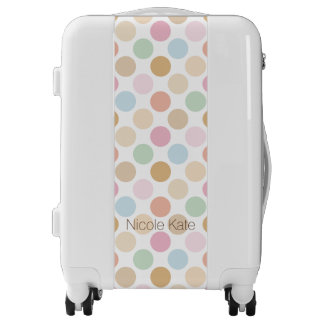 modern fine pastel color polkadots monogram luggage