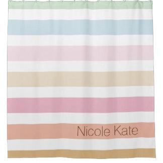 modern fine pastel colors custom monogram shower curtain
