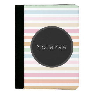 modern fine pastel colors gray circle monogram padfolio
