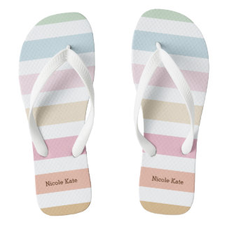modern fine pastel colors monogram flip flops