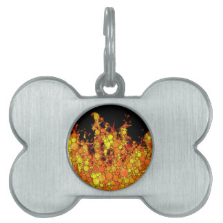 Modern Fire - Abstract Circle Flame Print Pet ID Tag