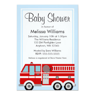 Modern Fire Truck Boy Baby Shower Card