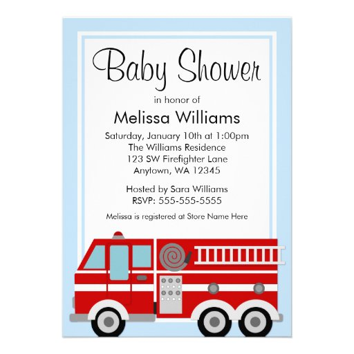 Personalized Fire Truck Baby Shower Invitations