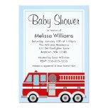 "Modern Fire Truck Boy Baby Shower 5"" X 7"" Invitation Card"