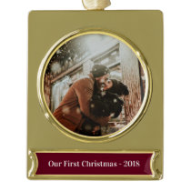 Modern First Christmas Holiday Photo Name Year Gold Plated Banner Ornament