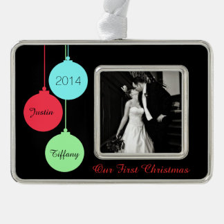 Modern First Christmas Photo Christmas Ornament Silver Plated Framed Ornament