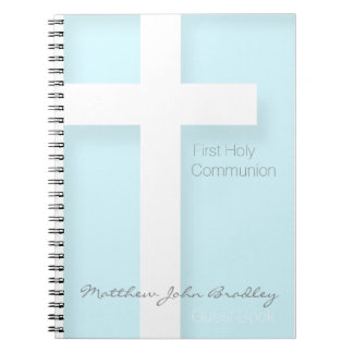 Modern First Holy Communion in Blue - Guest Book Spiral Notebooks