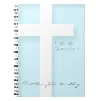 Modern First Holy Communion in Blue Guest Book Spiral Notebook