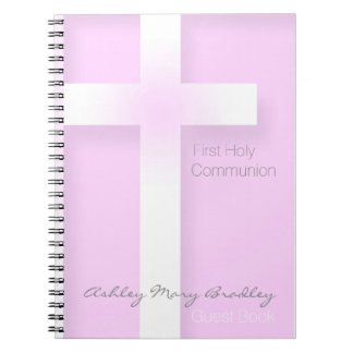 Modern First Holy Communion in Pink Guest Book Spiral Notebook